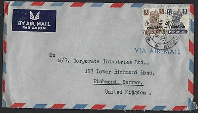 PAKISTAN 1948 AIRMAIL COVER TO ENGLAND with INDIAS O/PRINTED STAMPS