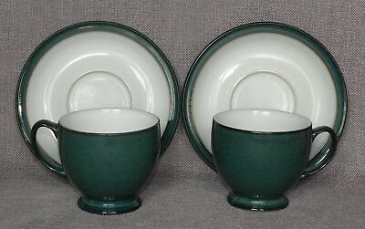 """Denby Stoneware, Greenwich, 2x Cups & Saucers, traditional shape, 7.5cm /3"""" tall"""