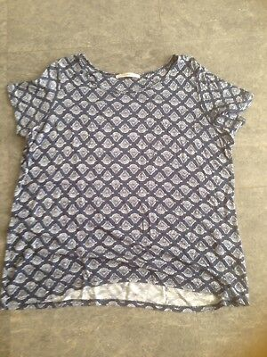 George Ladies Navy And White Shell/fan Patterned Short Sleeved Top Size 14