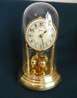Vintage Bentima German Brass Enamel Face Glass Dome Mantle Clock
