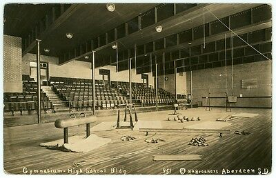 School Gym Interior circa 1910 Real Photo Postcard Aberdeen South Dakota RPPC SD