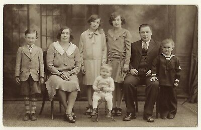 Portrait Of A Large Nuclear Family   (Vintage Real Photo Postcard)