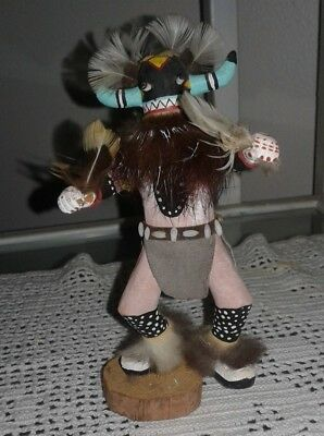 """Carved Kachina Indian Doll Signed F. Smith ? Whipper  6"""" Tall Suede,fur,feathers"""