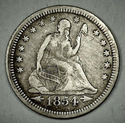 1854-P With Arrows Seated Liberty Quarter Dollar
