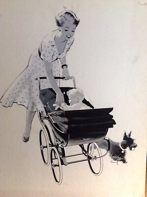 "RARE Silver Cross pram Original 24"" 1952 Artwork  for Advertsing"