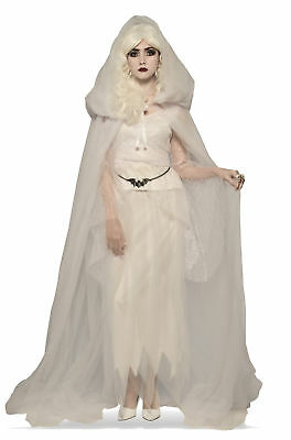 White Hooded Cape Adult Costume Accessory NEW Witch Ghost