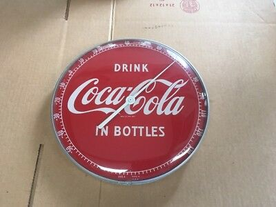 "Drink Coca-Cola In Bottles 12"" Glass Front Thermometer From The 1950's"