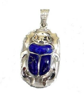 Sterling Silver Egyptian Scarab with Lapis Stone Pendant - Egypt Jewelry