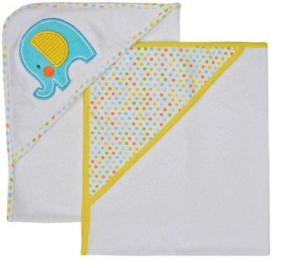 Baby Embroidered Elephant and Polka Dot Hooded Towels, Set of 2