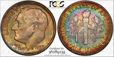 1957 d PCGS MS66 Gem Colorful Reverse Target Toned Roosevelt Dime (mb1644)
