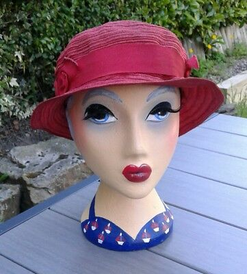 1930s Red Straw/Weave Hat