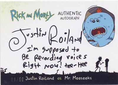 2018 Cryptozoic Rick and Morty Season 1 Autograph Justin Roiland INSCRIPTION