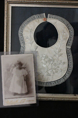 Antique Victorian Mourning  Framed Memorial  Memento. Babby Bib with photo.