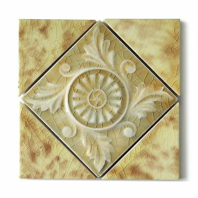 Antique Tile Set Victorian Aesthetic Floral Flower Emboss Ivory Yellow Set of 5