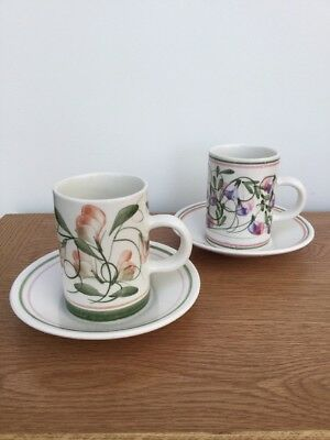 Cinque Ports Pottery The Monastery RYE Floral Flowers Coffee Cups & Saucers