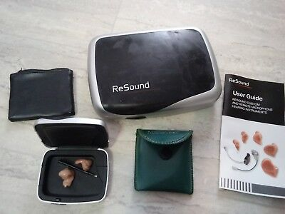 ReSound & Micro-Tech In Ear Hearing Aids Untested + Case & Pouches Xtra Manual