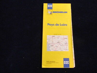 Vintage 1989 Michelin France #232 Pays DeLoire Road Map in French
