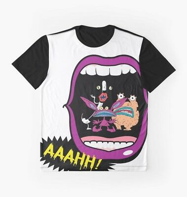 Real Monsters Halloween 90's Retro Nostalgia Scary Show Graphic Tee Tshirt