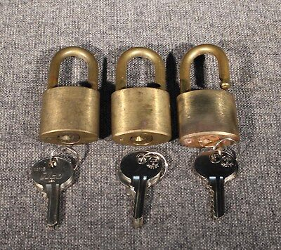 3 Wilson Bohannon Keyed Alike Padlocks Used Good Condition With Keys