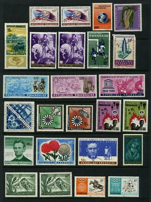 Group of 25 Mint Hinged Rwanda Stamps