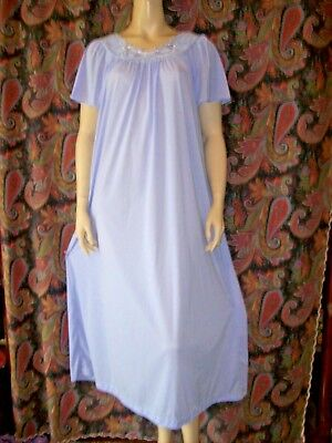 Vintage ShadowLine Nylon Tricot Smock Nighty Gown Nightgown Lingerie L