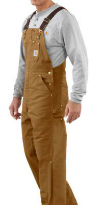 New CARHARTT R02 Duck BIB Overall QUILT LINED Retails $110 BROWN GOLD Sz 46 x 30