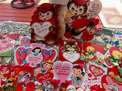 Lot Of 66 Vintage Signed Valentines Day Cards
