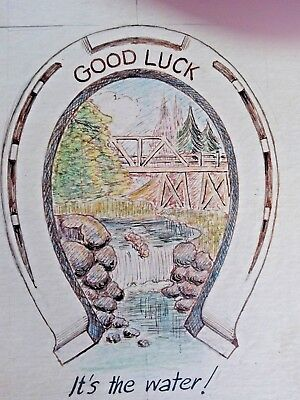 """Olympia Beer Art Drawing Mock-Up Advertising """"Good Luck It's the Water"""