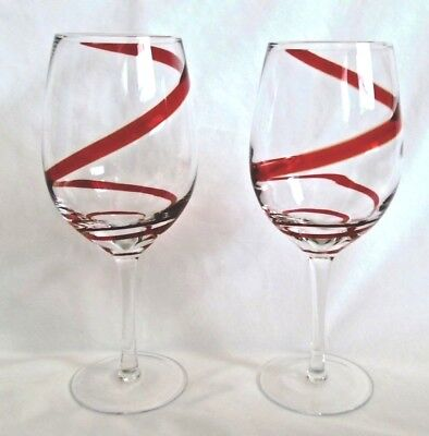 PIER 1 Two Red Swirl Wine/Water Glass Stemware Goblet Tall Mouth Blown Barware