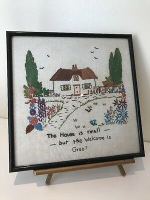 Vintage Embroidery Needlework Framed Picture
