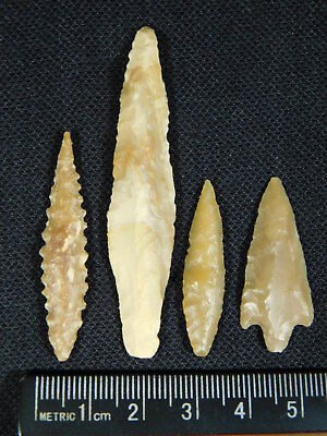Lot of FOUR! 9,000 to 4,000 Year Old Lithic Arifacts Bir Gandus Morocco 7.3gr e