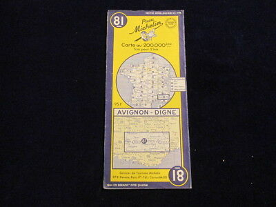 Vintage 1954 Michelin France #81 Avignon Digne Road Map in French