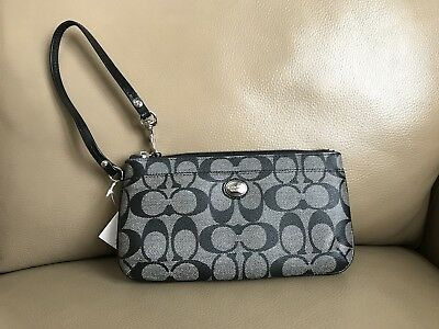 Coach Peyton Black Signature Coated Canvas & Leather Trim Wristlet Wallet F49965