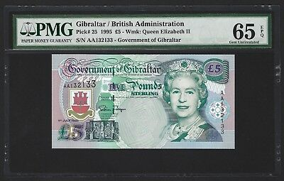 1995 Gibraltar 5 Pounds, PMG 65 EPQ GEM UNC 132133 NICE SERIAL NUMBER, Rare Type