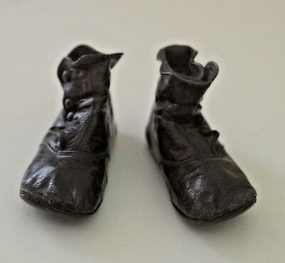 Darling Antique Brown Leather Baby Boots Size 3½ Ss816