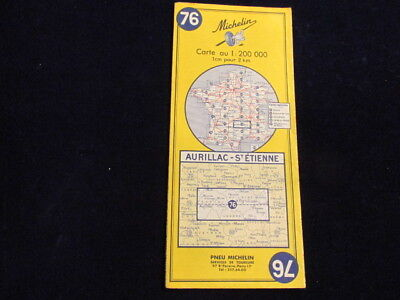 Vintage 1968 Michelin France #76 Aurillac  ST Etienne Road Map in French