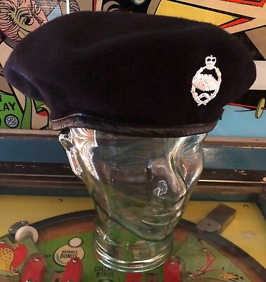 """Vintage British Beret Basque LTD 1954 with Silver Fear Naught Pin-Size 7 ½"""""""