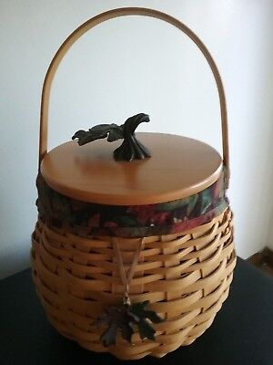 Pumpkin Patch Fall Halloween Thanksgiving Lonaberger Basket W/protector & Lid