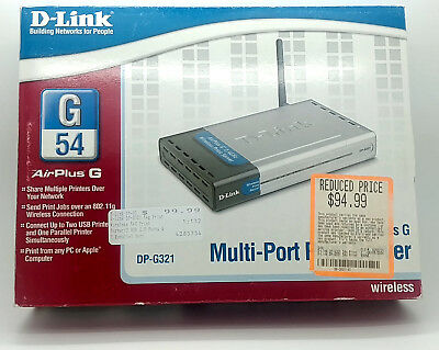 Multi port Print Server D-Link DP-G321 Wireless-G LAN USB 2.0 Parallel Port