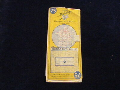 Vintage 19?? Michelin France # 75 Bordeaux Tulle Road Map in French