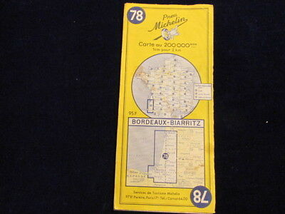 Vintage 1956 Michelin France #78 Bordeaux Biarritz Road Map in French