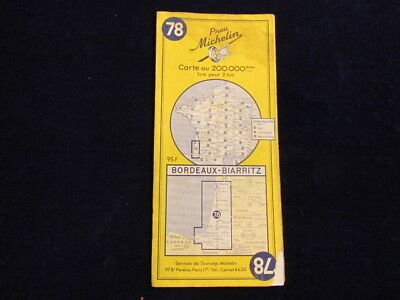Vintage 1957 Michelin France #78 Bordeaux Biarritz Road Map in French