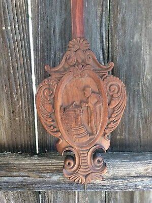 Unusual Black Forest Carved Vienna Regulator Wall Clock Pendulum.