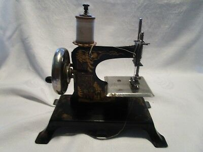 Antique /vintage Germany Hansel&gretel&witch Metal Childs Sewing Machine #4