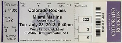 2013 Christian Yelich Debut first game full ticket stub first hit Brewers