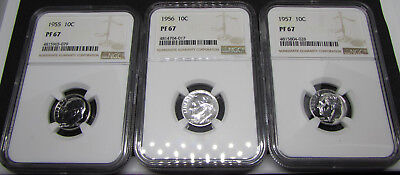 Lot Of 10 Roosevelt 90% Silver Dimes 1955-1964 Ngc Pf-67 (#2)