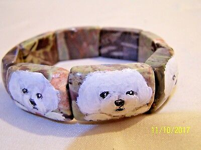 hand painted Bichon Frise painting on natural Jasper gemstone stretch bracelet