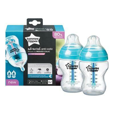 NEW Tommee Tippee Advanced Anti-Colic Bottles 260mL 2 Pack Newborn Baby Gift