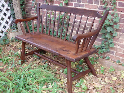 Farmhouse Country Colonial Windsor Settee Hand Planed Bench (Local Pickup)