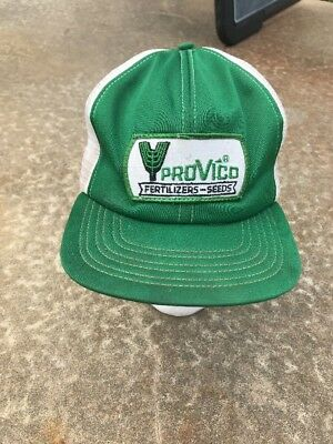 Vtg ProVico Fertilizer Green Snapback Hat Cap Patch Made In USA Trucker Mesh 23da5358c6e8